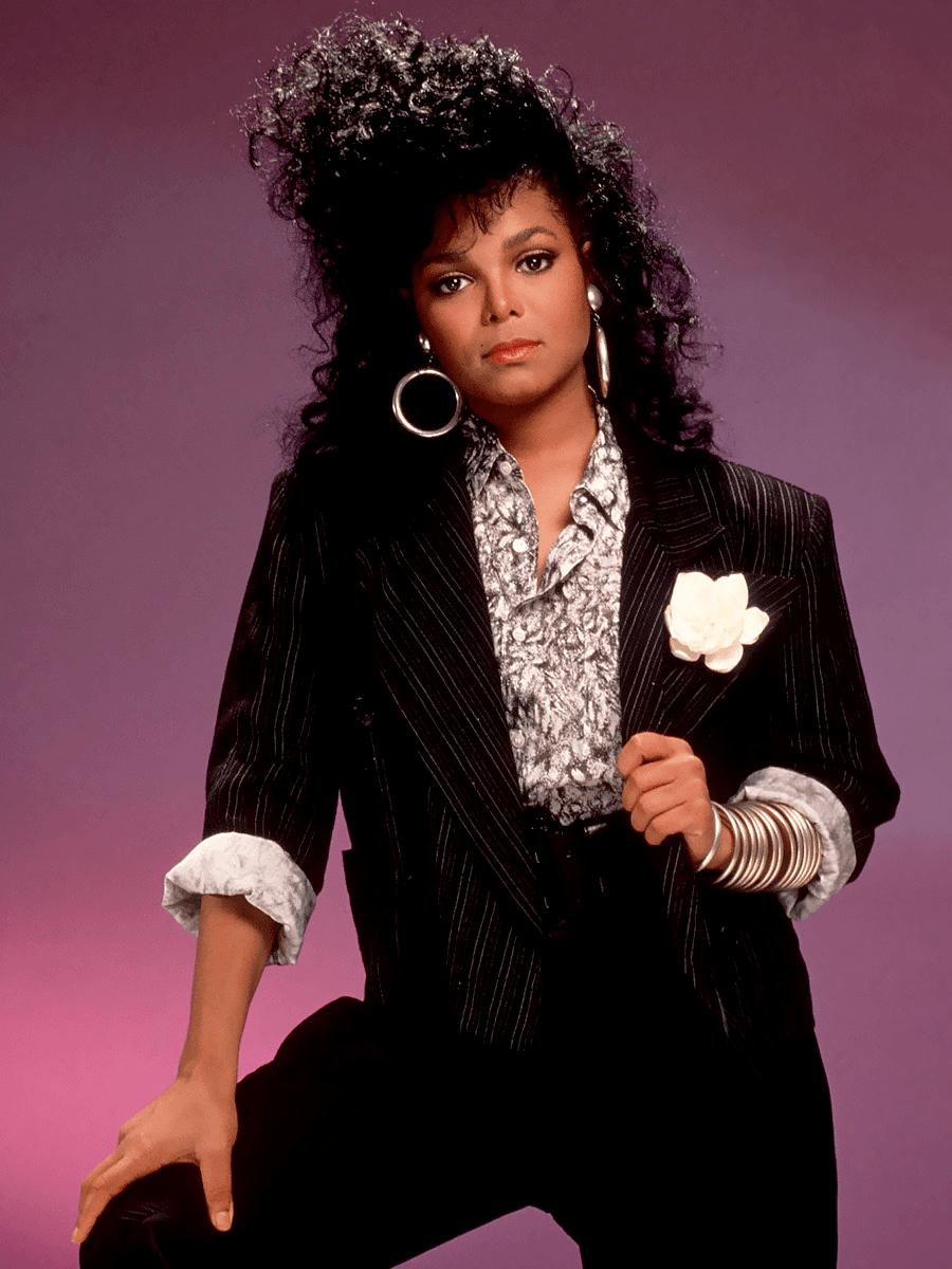Janet Jackson posing in 1986