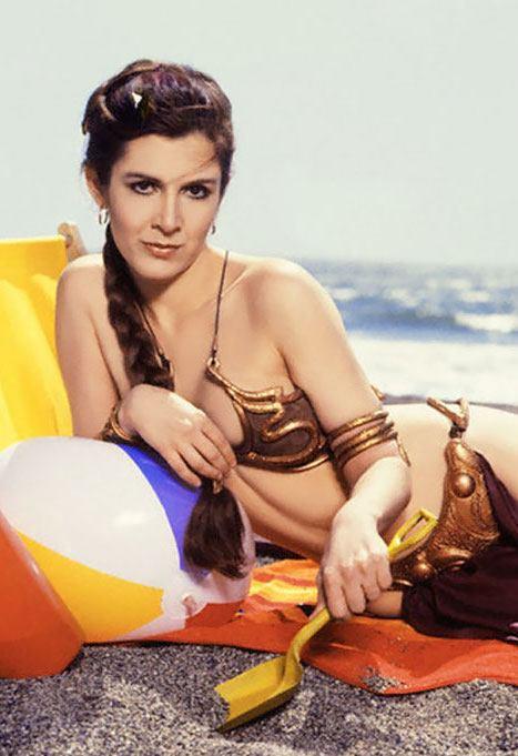 Carrie Fisher in her Princess Leia bikini from Return of the Jedi