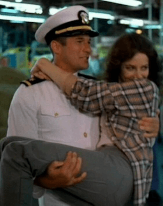 Julia Roberts is swept off her feet in An Officer And A Gentleman