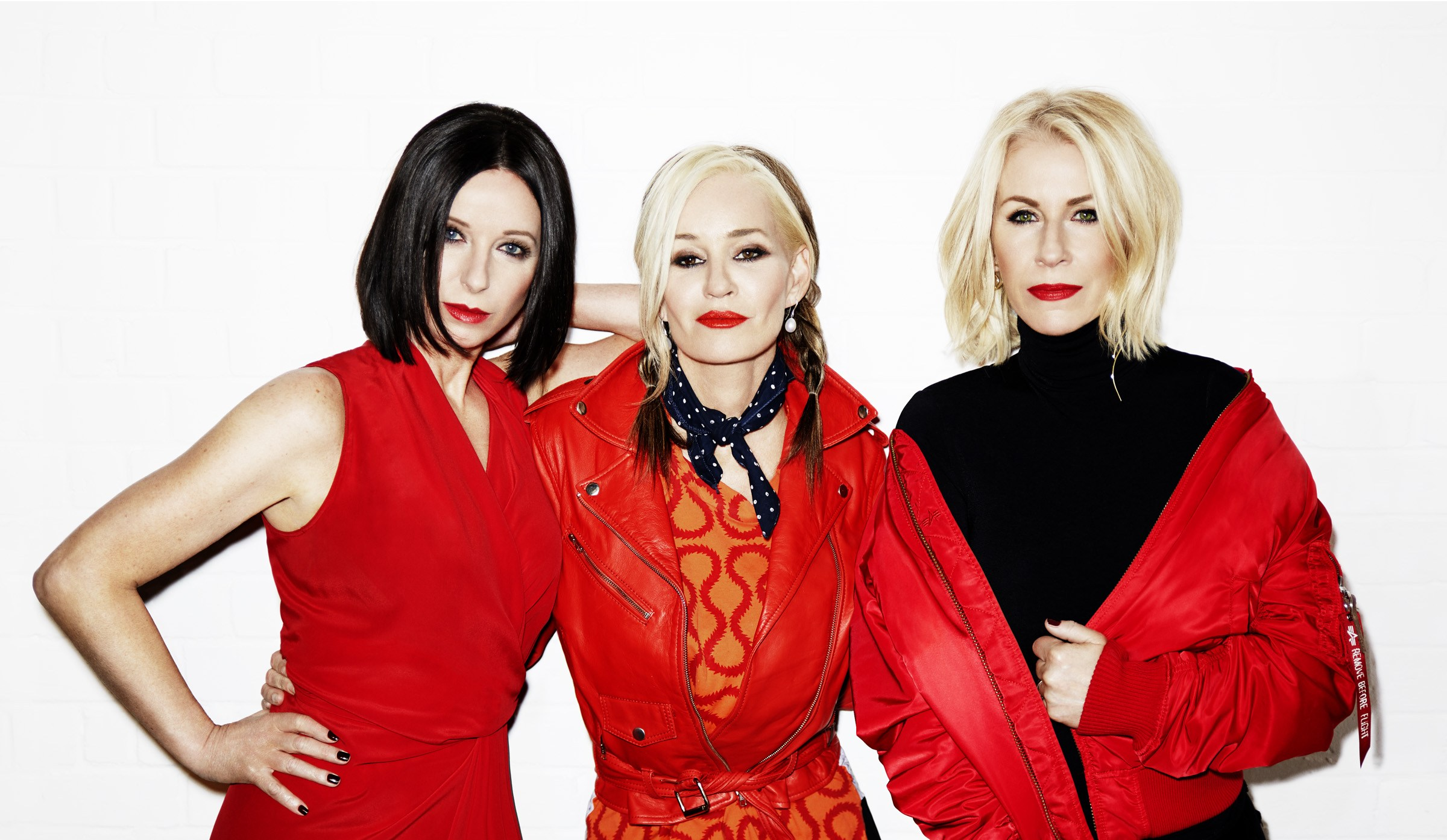 Bananarama in matching red outfits