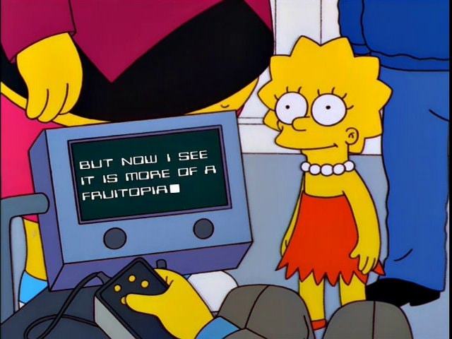 Stephen Hawking mentions Fruitopia in The Simpsons