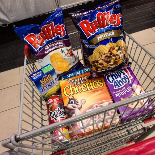 A Canadian shopping trolley containing some Fruitopia