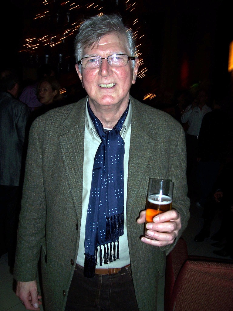Stephen Moore in recent years holding a pint