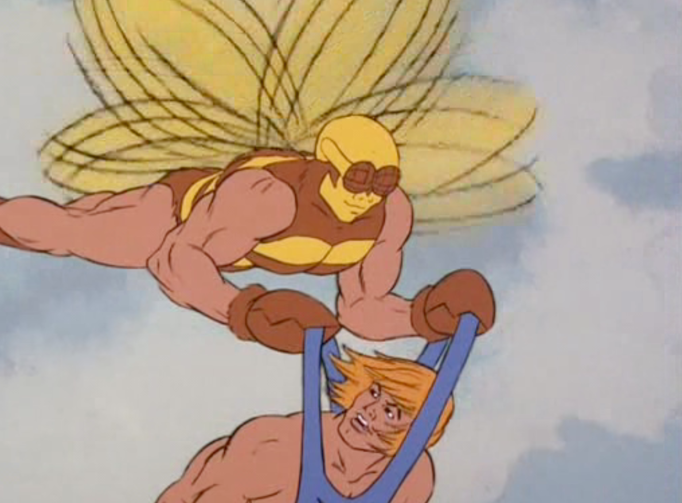 Buzz-Off carries He-Man while flying