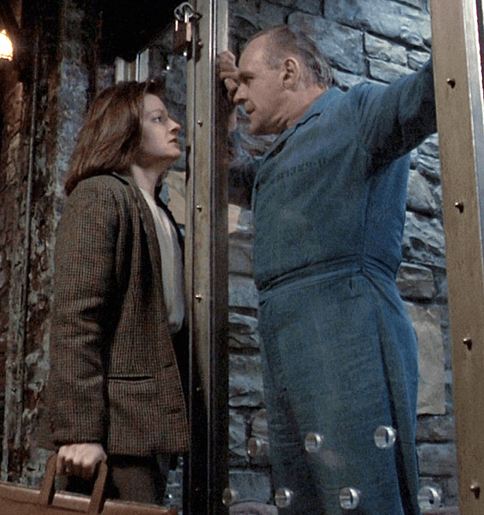Clarice Starling and Hannibal Lector face to face in The Silence of the Lambs