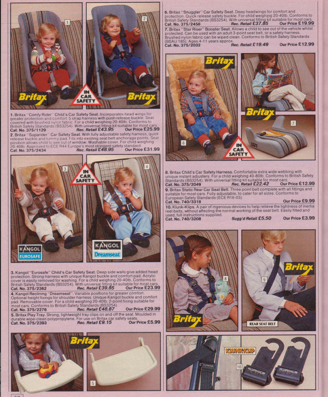 Car seats 19 Nostalgic Pages From The 1985 Argos Catalogue