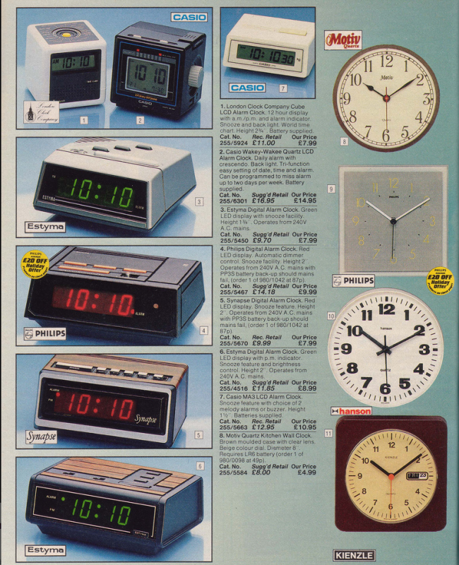 Clocks 19 Nostalgic Pages From The 1985 Argos Catalogue