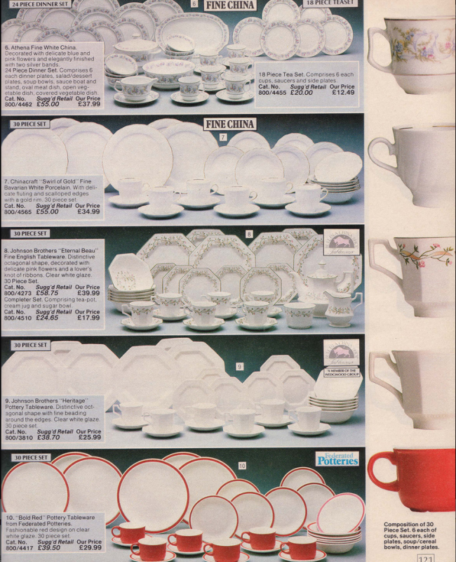 Crockery 19 Nostalgic Pages From The 1985 Argos Catalogue