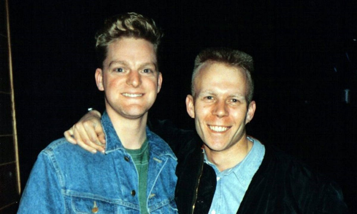 Erasure smile for the cameras in the 1980s