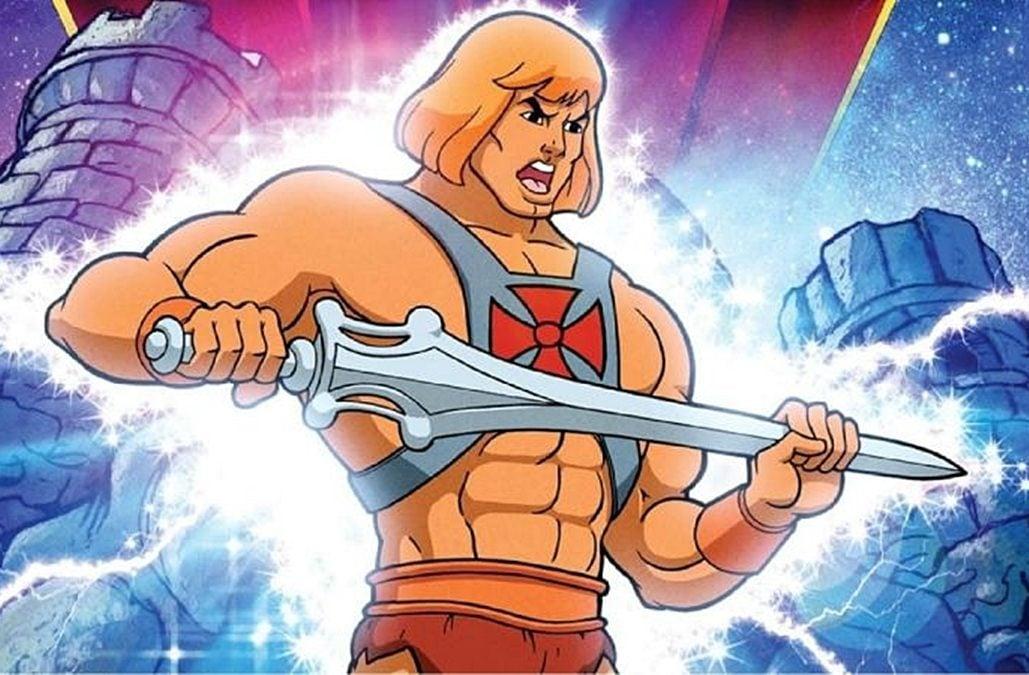 He-Man stands in front of Castle Greyskull, wielding his sword