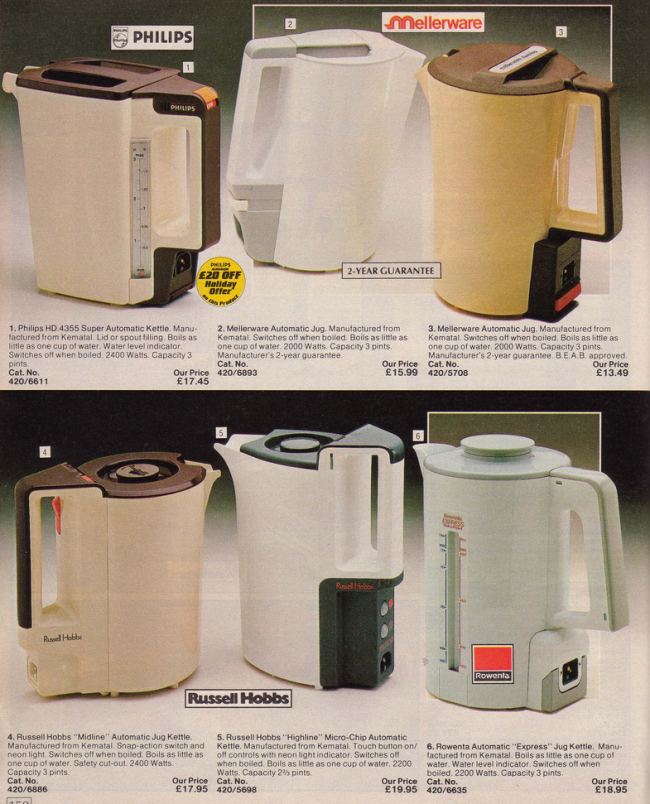 Kettles 19 Nostalgic Pages From The 1985 Argos Catalogue