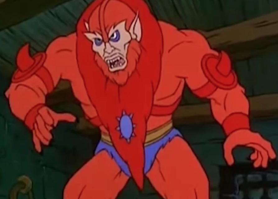 Beastman, from the He-Man cartoon, looks worried