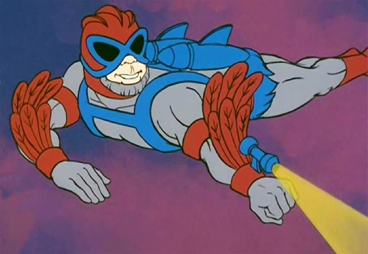 Stratos from He-Man fires a laser