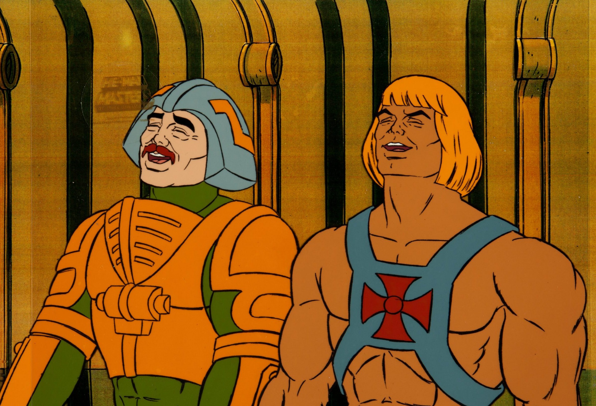 Man-at-Arms and He-Man laugh