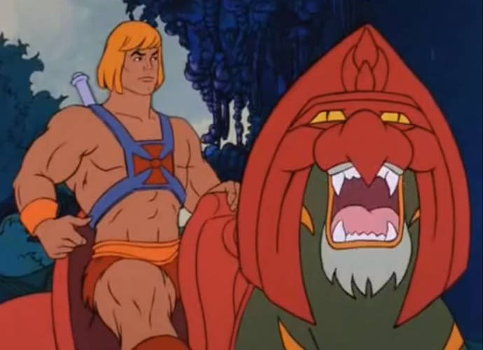 Battle Cat roars, with He-Man on his back