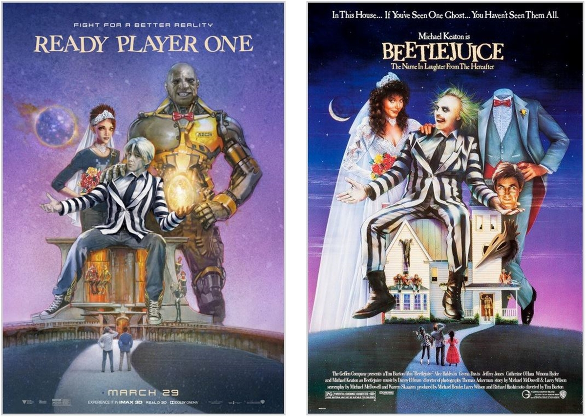 BEETLEJUICE 12 Classic Film Posters Are Recreated To Promote Spielberg's 'Ready Player One'