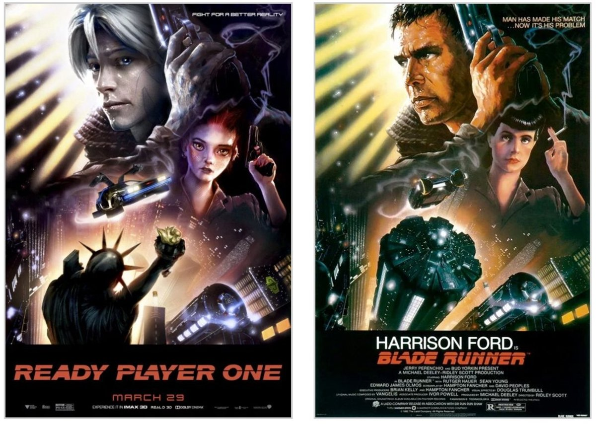 BLADE RUNNER 12 Classic Film Posters Are Recreated To Promote Spielberg's 'Ready Player One'