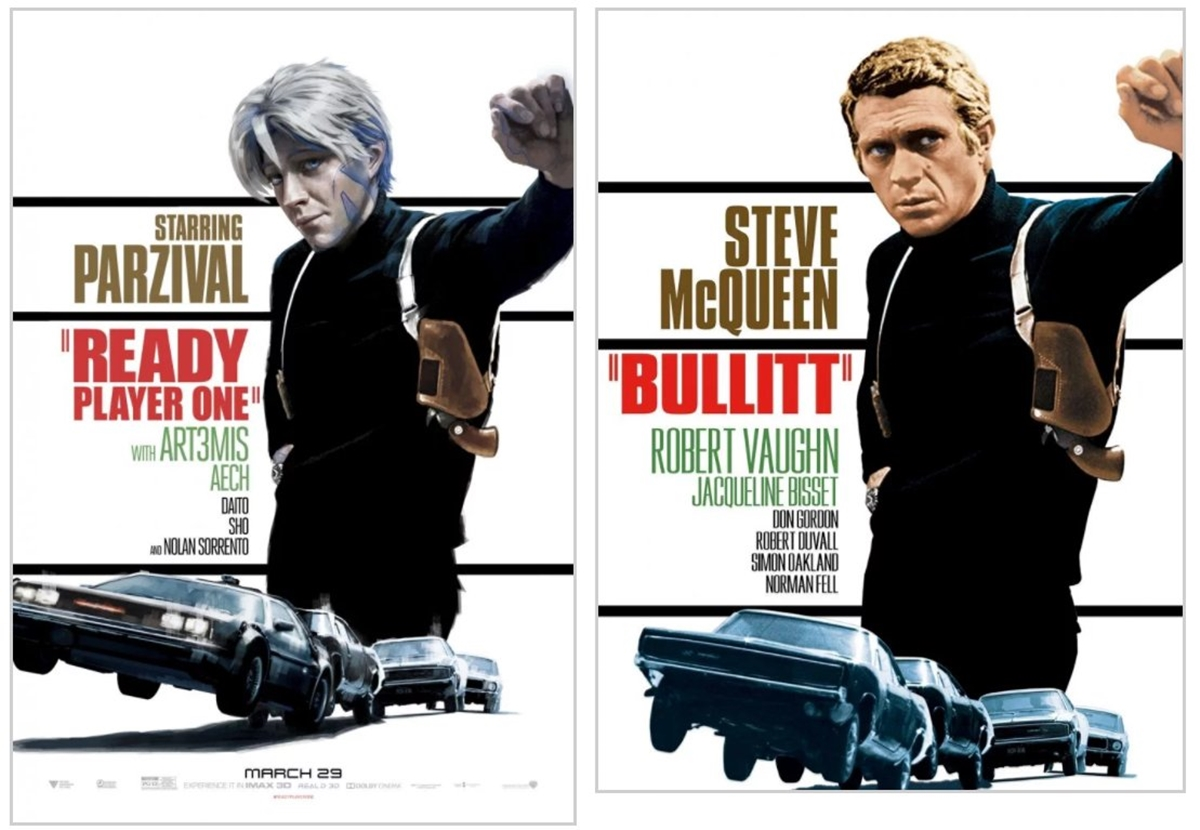 BULLITT 12 Classic Film Posters Are Recreated To Promote Spielberg's 'Ready Player One'