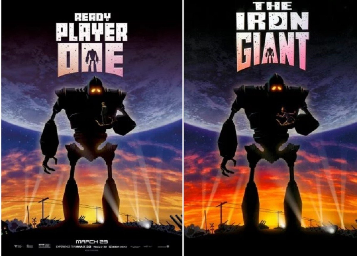THE IRON GIANT 12 Classic Film Posters Are Recreated To Promote Spielberg's 'Ready Player One'