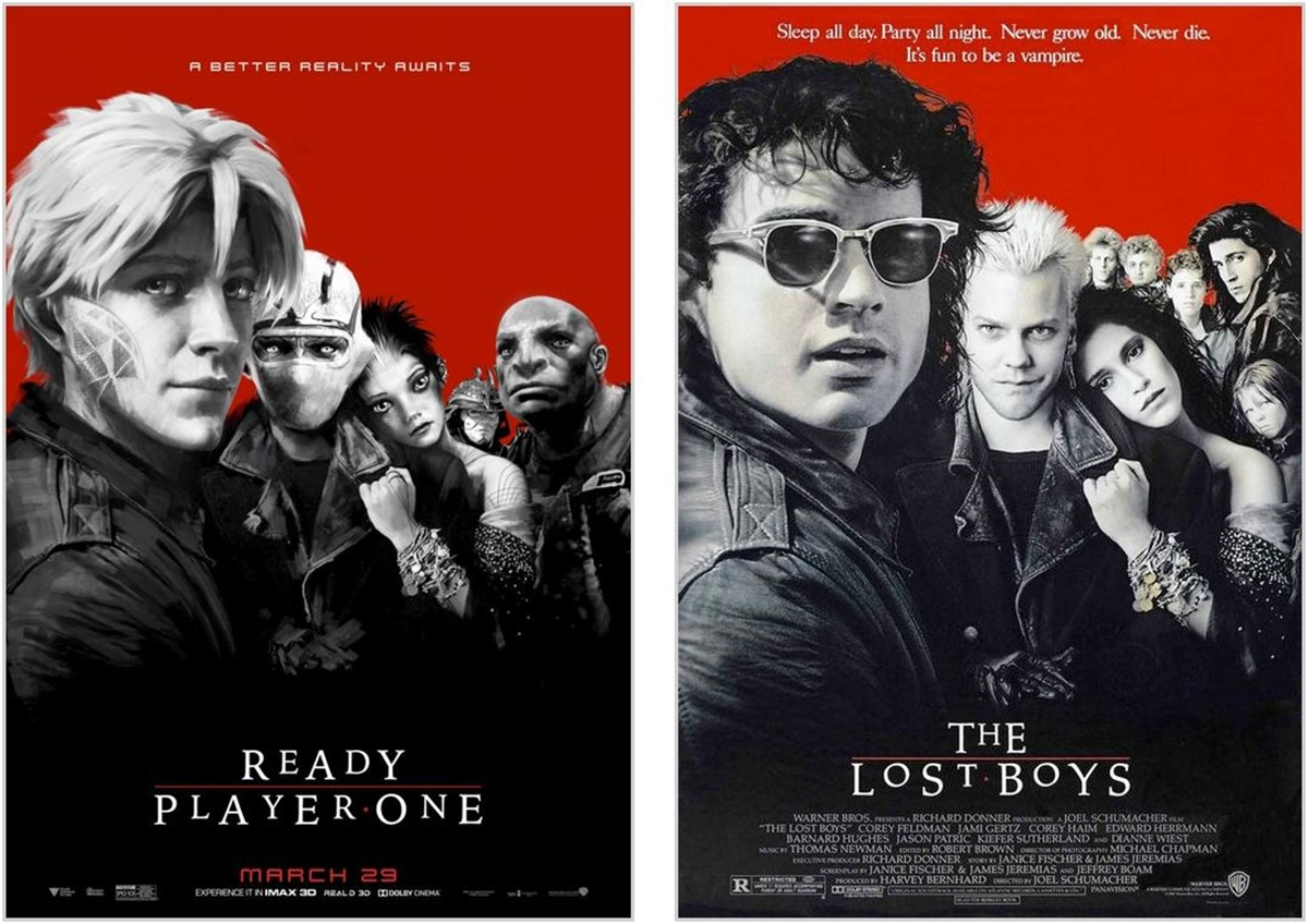 THE LOST BOYS 12 Classic Film Posters Are Recreated To Promote Spielberg's 'Ready Player One'