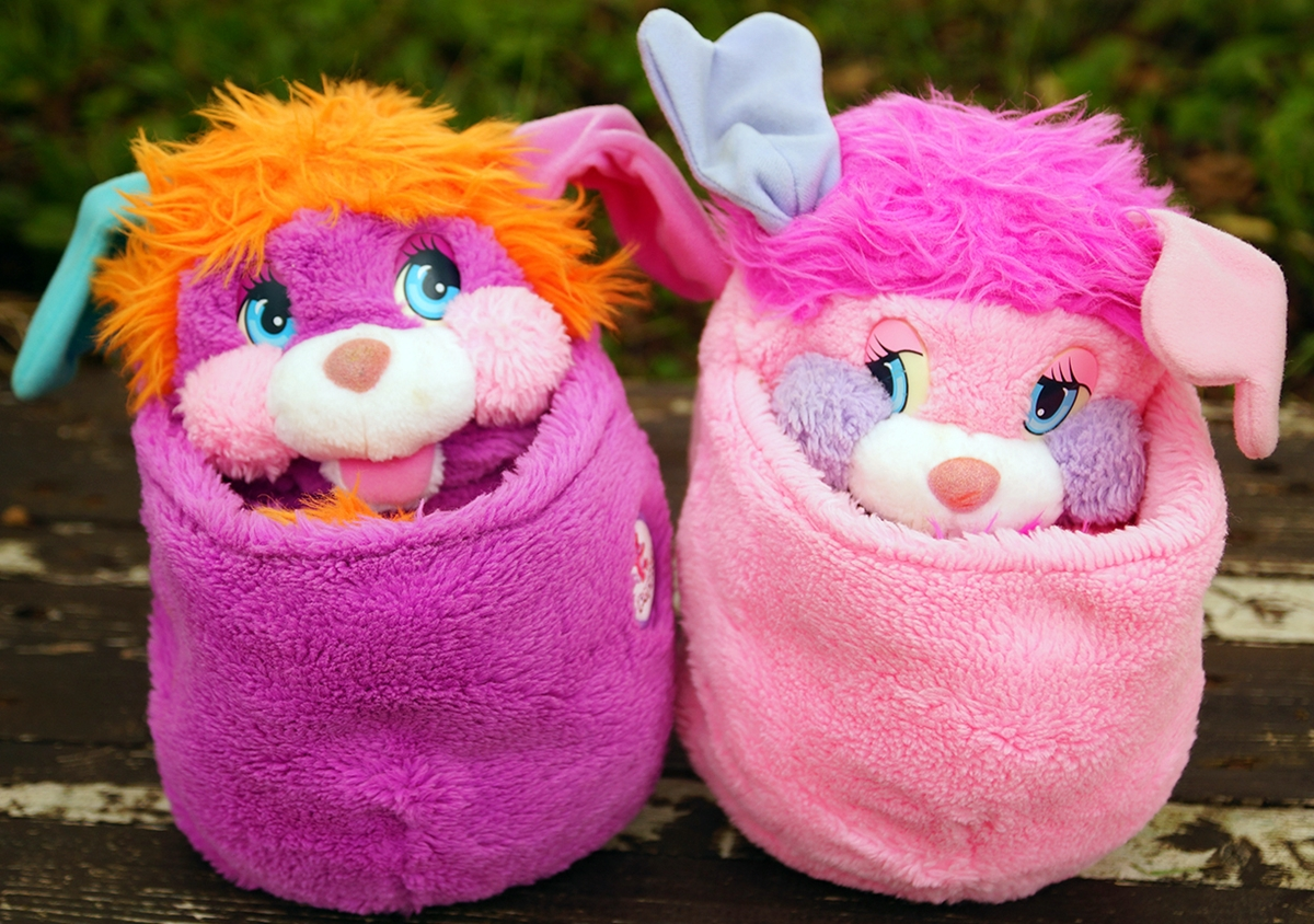 A pair of Popples toys