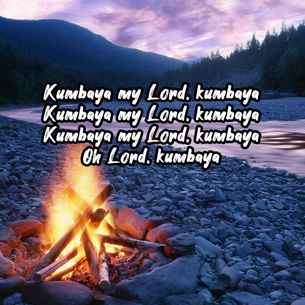 Kumbaya, superimposed on a campfire on a pebble beach looking at distant mountains
