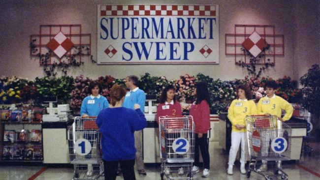 Supermarket Sweep contestants lining up