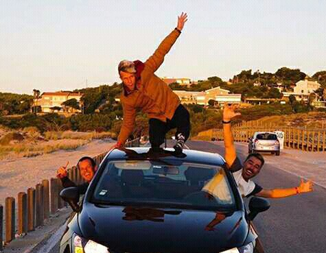 People doing the car surfing fad in the 80s