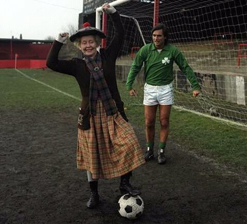 Super Gran steals the ball from George Best