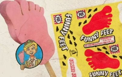 Funny Feet ice cream and its original wrapping paper