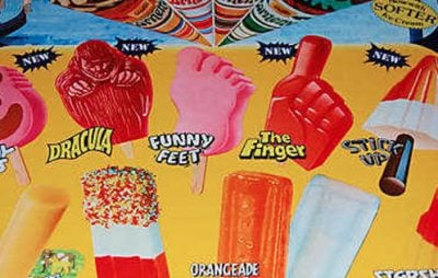 A sign for 80s ice creams and lollies