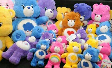 1980s Care Bear Toys in a pile