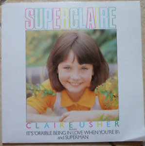 The cover of Superclaire which included her two singles 'It's 'orrible Being in Love' and 'Superman'.