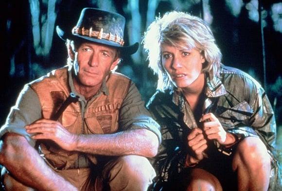 Paul Hogan and Linda Kozlowski in a scene from Crocodile Dundee