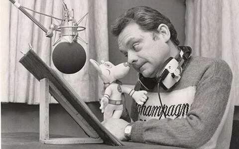 David Jason recording his lines for Danger Mouse