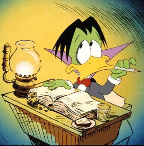 Duckula writing at his desk