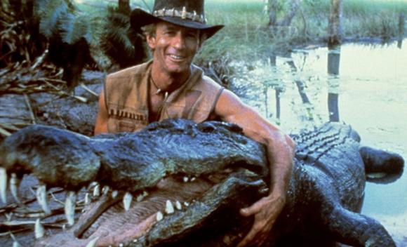 Paul Hogan in character as Crocodile Dundee