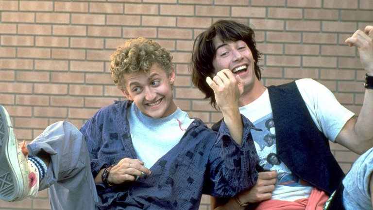 Alex Winter and Keanu Reeves in Bill & Ted's Excellent Adventure. They returned to co-star in Bill & Ted's Bogus Journey