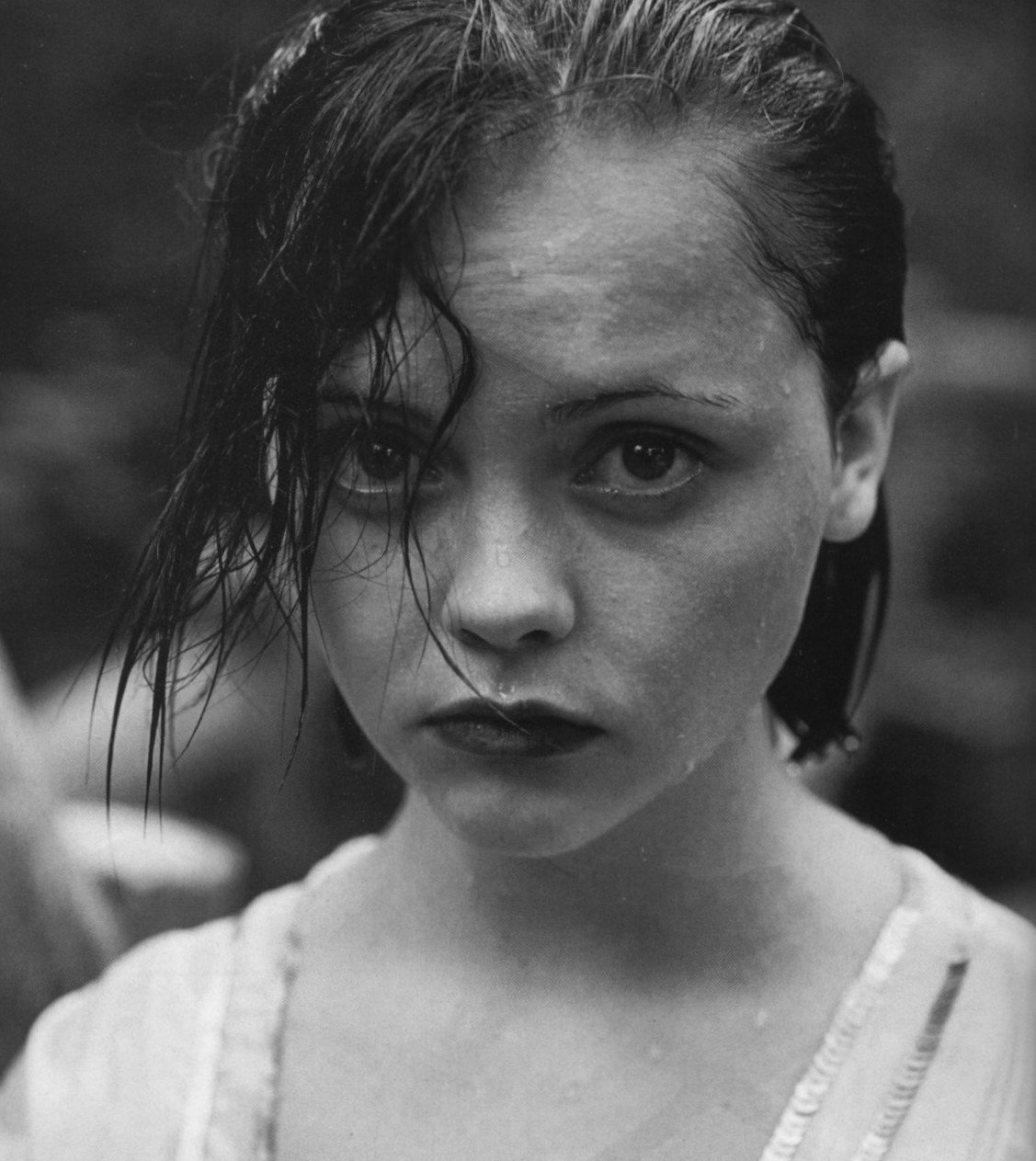 Christina Ricci poses for a black and white photoshoot