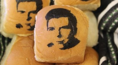 A bread roll with Rick Astley's face