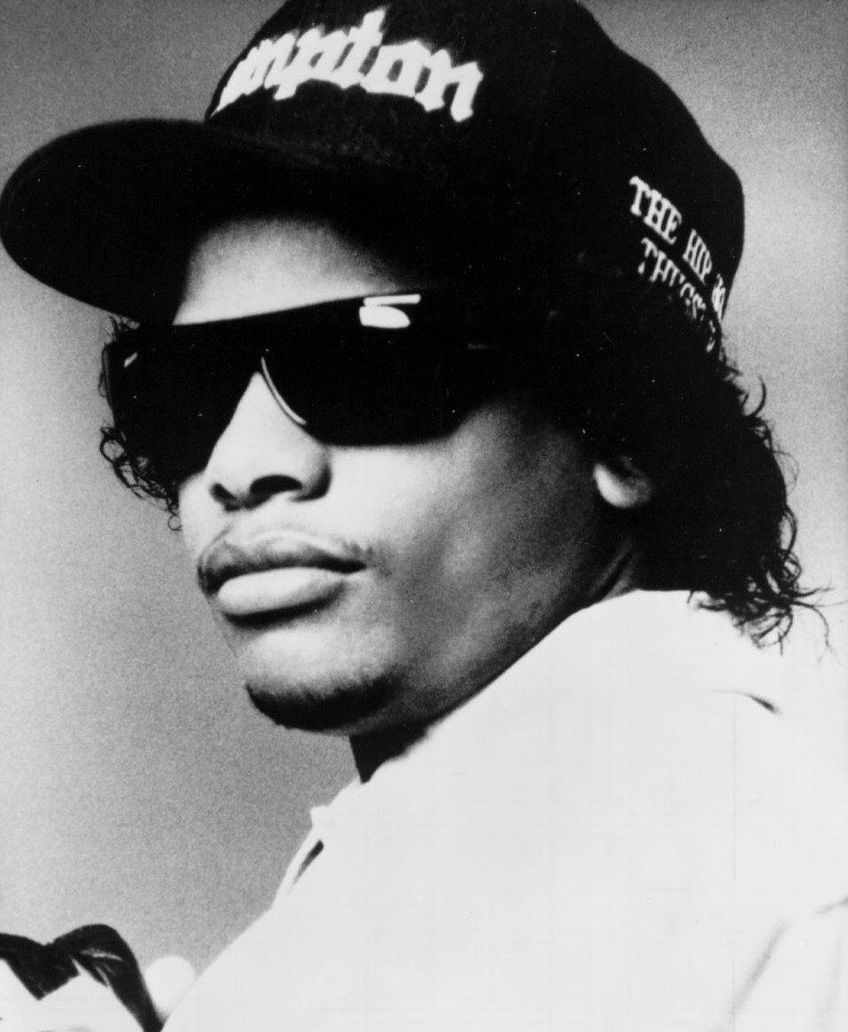 Eazy-E wearing Compton cap and shades, early 1990s