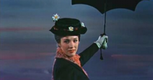 Mary Poppins with her umbrella