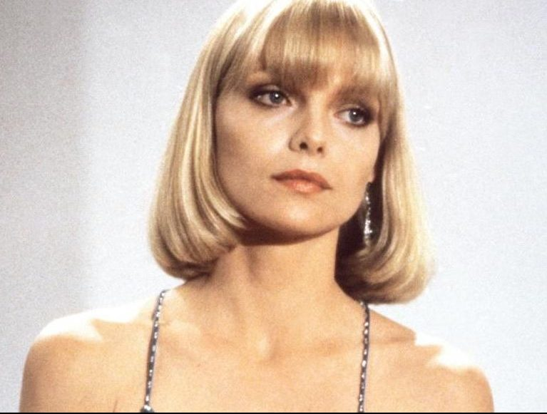 Michelle Pfeiffer as Elvira Hancock in Scarface, distributed by Universal Pictures