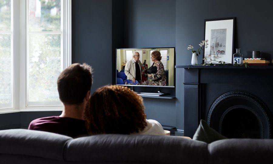 Freeview couple watching TV Corrie 20 Things You Never Knew About Coronation Street