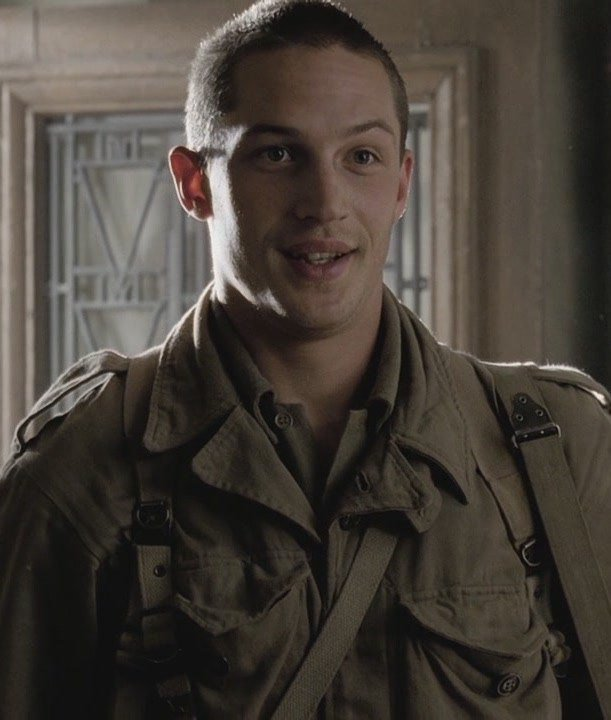 Young Tom Hardy as Private Janovec in Band of Brothers