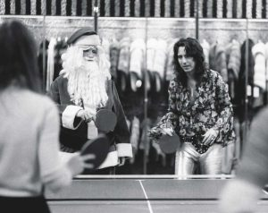 Rare Celebrity Photos 7 Alice Cooper playing table tennis with Santa Claus at Alexander's department store in New York 1972 20 Rare Celebrity Photos You've Never Seen