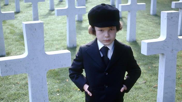 Harvey Spencer Stephens as Damien in The Omen 1976 graveyard