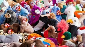 A large group of beanie babies