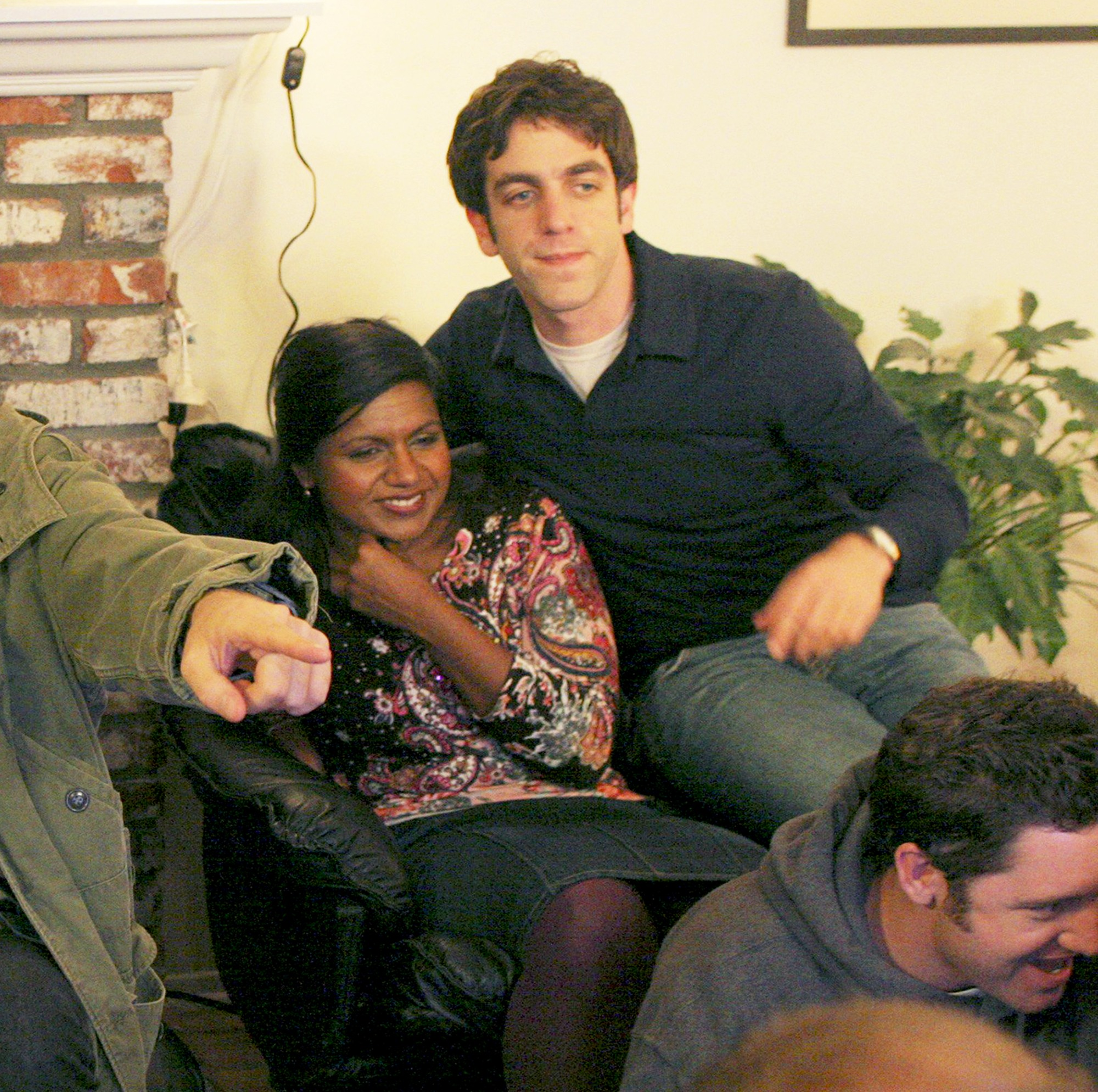Mindy Kaling and BJ Novak in a candid moment on the set of The Office