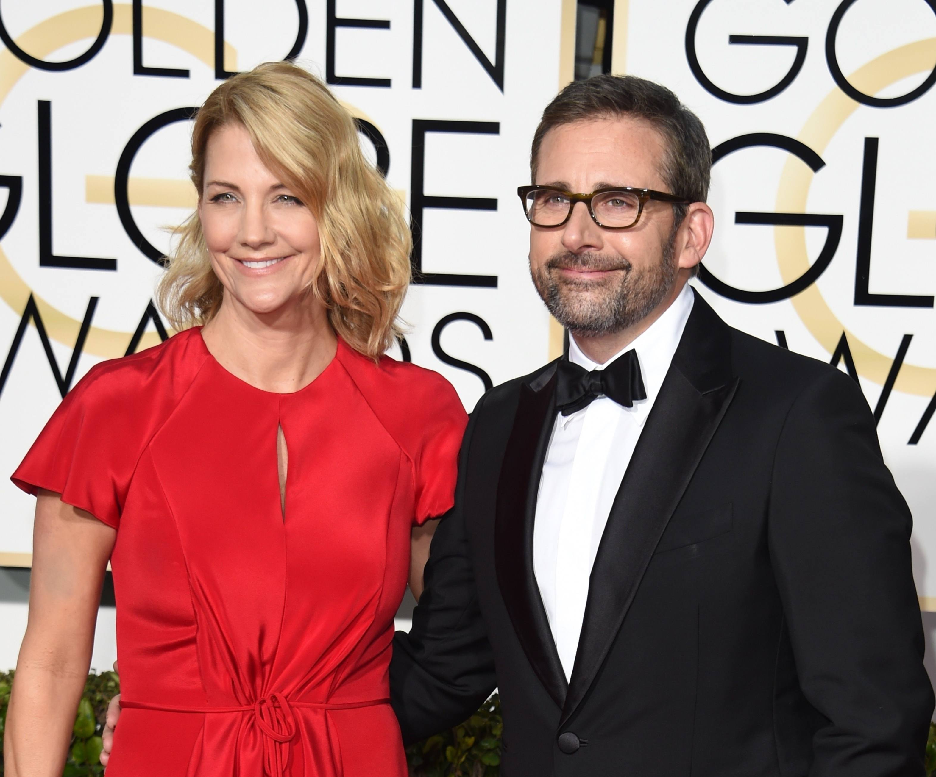 Steve Carell with wife Nancy Carell on the red carpet for the 72nd Golden Globes, 2015